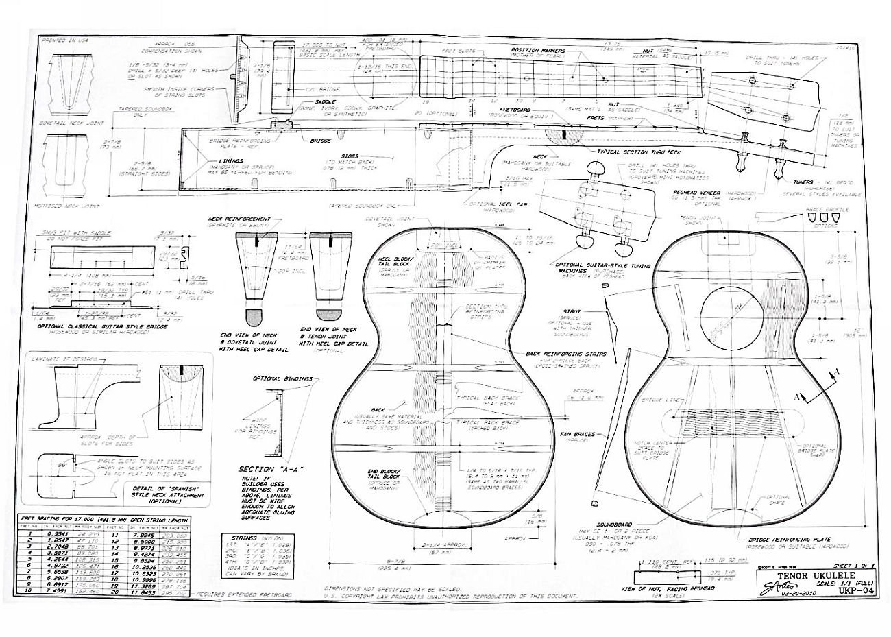 Full size blueprint for tenor ukulele full size blueprint for tenor ukulele by scott antes with construction options and notes malvernweather Gallery