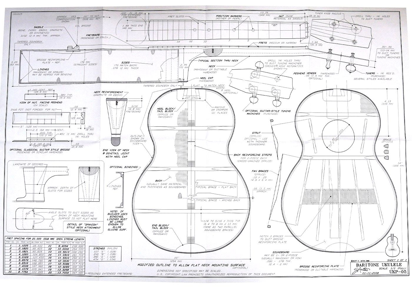 Full size blueprint for baritone ukulele 20 inch scale full size blueprint for baritone ukulele 20 inch scale by scott antes with construction options and notes malvernweather Gallery