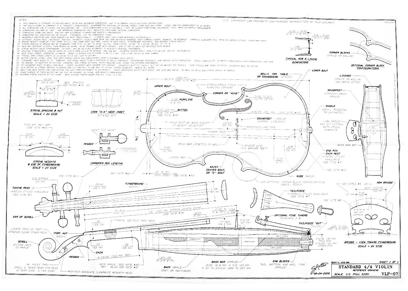 Full size blueprint for 44 violin fsoundbox pattern shown is strad style but neck fingerboard etc are compatible with any soundbox pattern malvernweather Gallery